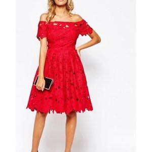 Chicwish red floral lace dress